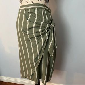 H&M | Faux wrap skirt with stripes